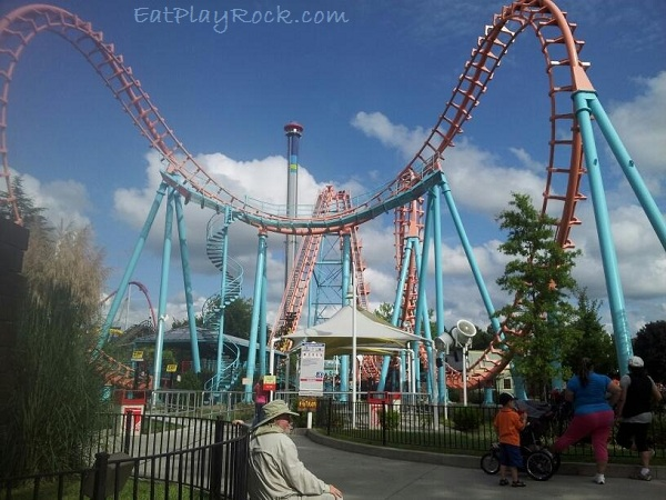 Carolina Cobra Roller Coaster at Carowinds Theme Park and Amusement Park in Charlotte North Carolina and South Carolina