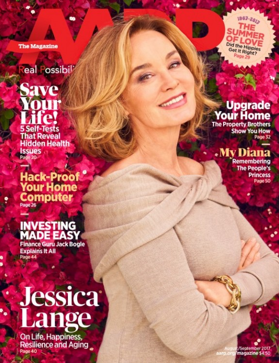 Jessica Lange Covers AARP Magazine For August/September